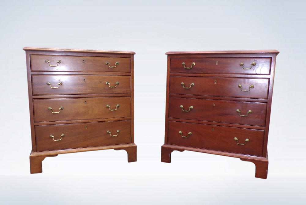 Antique Pair Bedside Chests Georgian Mahogany
