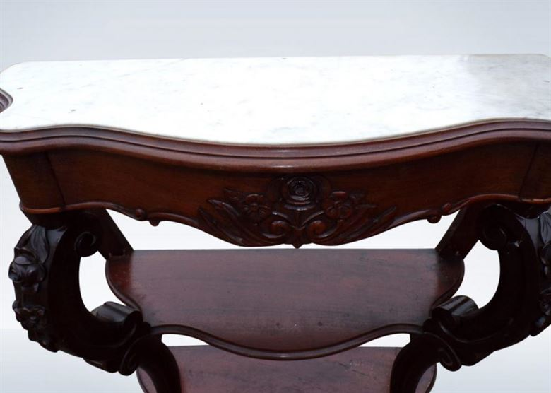 Antique Pair Console Tables From Victorian Period Of Small Proportions With Marble Tops