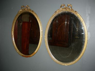 Antique Pair Gilt Oval Mirrors - Pair Of Victorian Oval Gilt Crested Mirrors