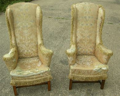 ANTIQUE PAIR WINGBACK CHAIRS - Pair of George III manner wingback armchairs - ANTIQUE FURNITURE WAREHOUSE - ANTIQUE PAIR WINGBACK CHAIRS - Pair Of