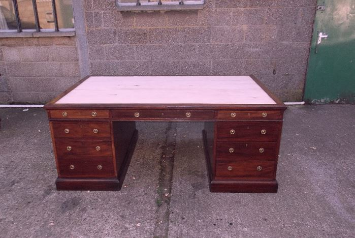 Antique Partners Desk - 6ft Victorian Mahogany Partners Desk