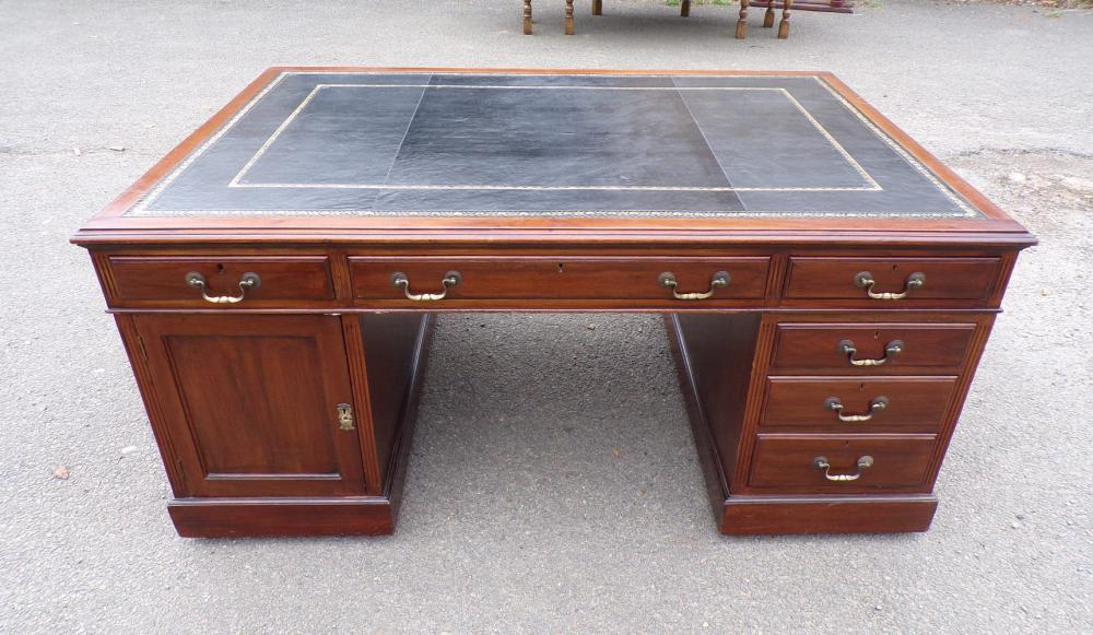 Antique Partners Desk Victorian Mahogany Drawers & Cupboards