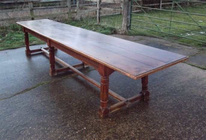 table huge 14ft long 16th century revival oak refectory table