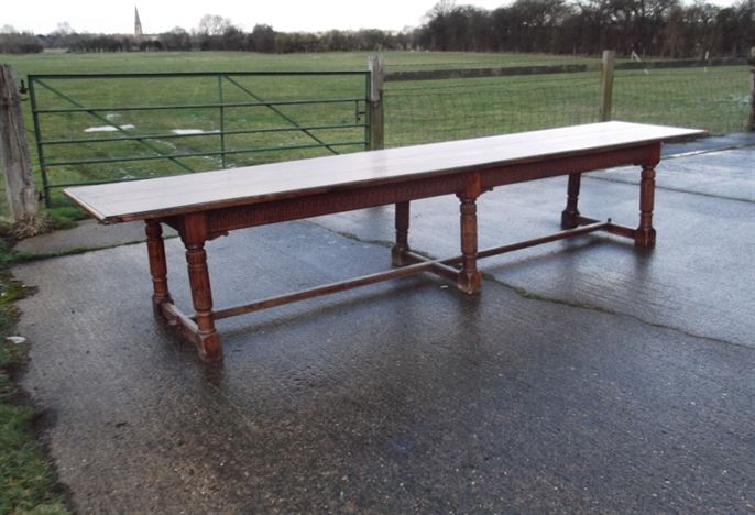 table huge 14ft long 16th century revival oak refectory table to