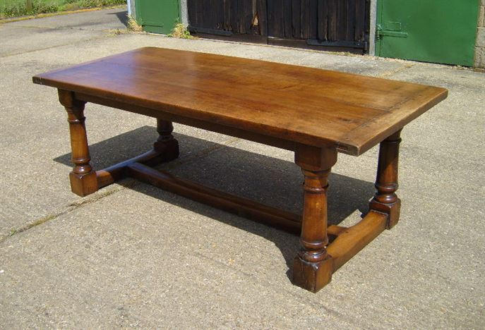 Antique Refectory Table   Large Revival Period 17th Century 7ft Jacobean  Oak Refectory Table