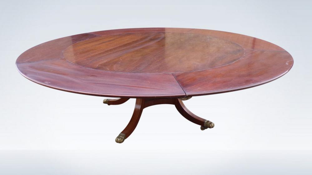 Antique Round Extending Dining Table Regency Pedestal Base