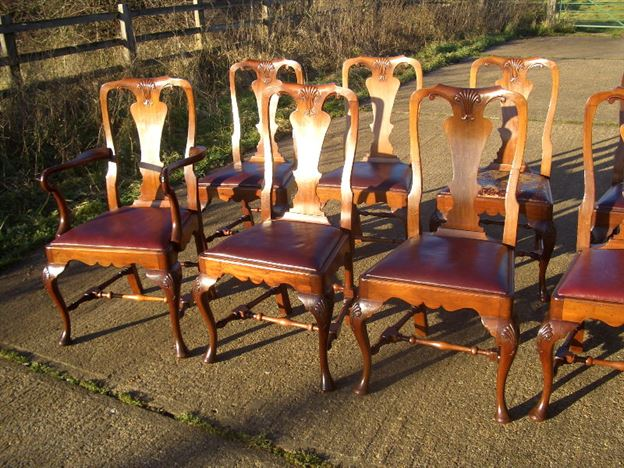 Antique Set 10 Dining Chairs - Set Of Ten Queen Anne High Back Dining Chairs  With - Antique Queen Anne Dining Chairs Antique Furniture