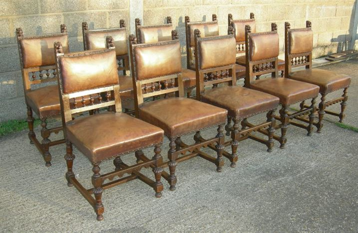 Antique Set 10 Oak Chairs 17th Century Style - 17th Century Revival  Jacobean Set of 10 oak Dining Chairs with Leather Upholstery - ANTIQUE FURNITURE WAREHOUSE - Antique Set 10 Oak Chairs 17th Century