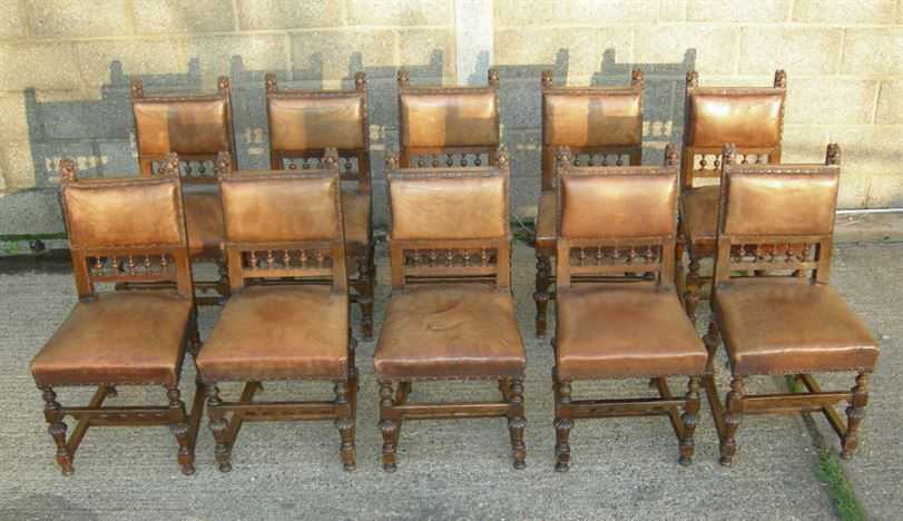 Antique Set 10 Oak Chairs 17th Century Style - 17th Century Revival  Jacobean Set Of 10 - ANTIQUE FURNITURE WAREHOUSE - Antique Set 10 Oak Chairs 17th Century