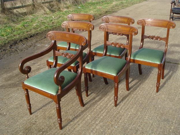 Antique Set 6 Georgian Chairs - Set Of Six Regency Bar Back Mahogany Dining Chairs With One Carver