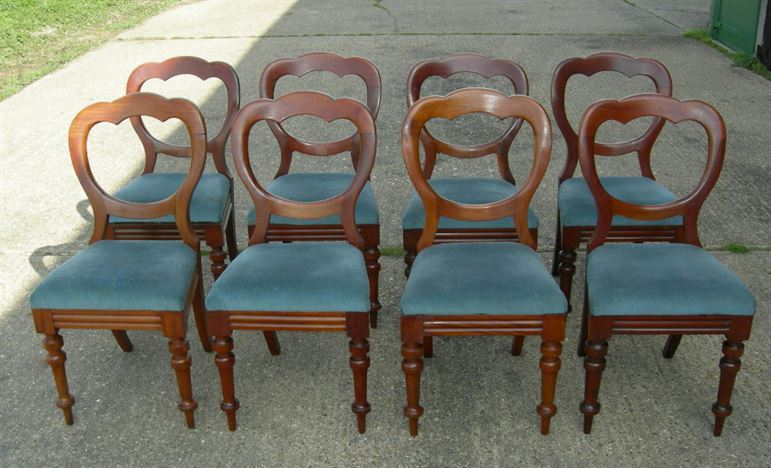 Antique Set 8 Dining Chairs   Set Of 8 Eight Victorian Mahogany Crown Balloon  Back Dining Chairs
