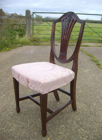 Antique Set 8 Georgian Chairs - Set Of Eight Georgian Revival Shield Back  Wheatsheaf Dining Chairs - ANTIQUE FURNITURE WAREHOUSE - Antique Set 8 Georgian Chairs - Set Of