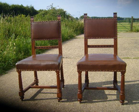Antique Set 8 Oak Chairs - Set of 8 Eight Victorian Oak and Leather Upholstered  Dining Chairs - ANTIQUE FURNITURE WAREHOUSE - Antique Set 8 Oak Chairs - Set Of 8