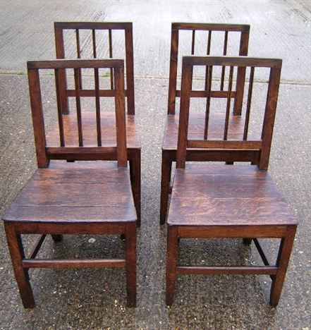 Antique Set Country Chairs 4 - Set of four late 18th Century oak country  chairs - ANTIQUE FURNITURE WAREHOUSE - Antique Set Country Chairs 4 - Set Of