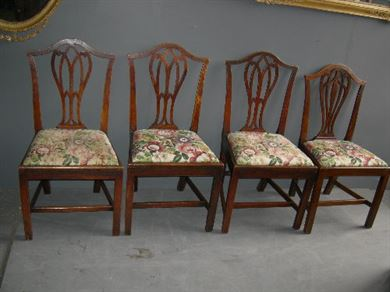 ANTIQUE SET COUNTRY CHIPPENDALE CHAIRS - Matched set of four Chippendale  period elm country chairs - ANTIQUE FURNITURE WAREHOUSE - ANTIQUE SET COUNTRY CHIPPENDALE CHAIRS