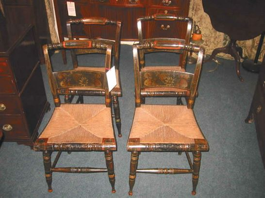 Antique Set Dining Chairs 4   Set Of 4 American Hitchcock Chairs