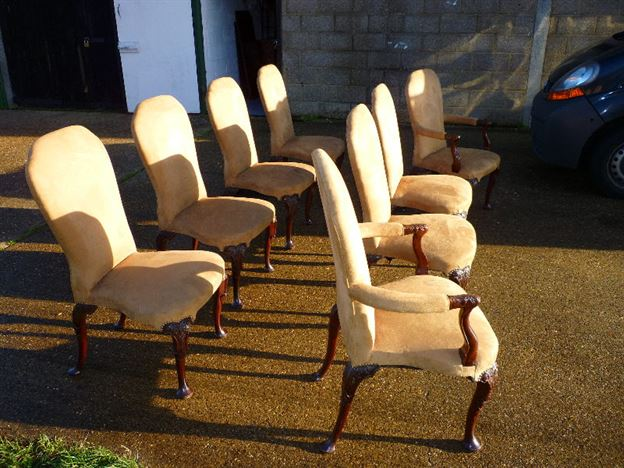 Antique Set High Back Chairs - Set Of Eight 8 Georgian Mahogany Dining  Chairs With High - ANTIQUE FURNITURE WAREHOUSE - Antique Set High Back Chairs - Set Of