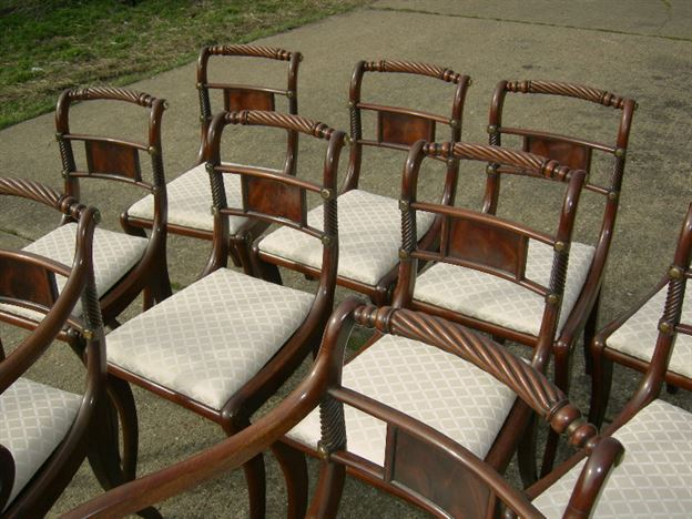Antique Set Of 10 Georgian Dining Chairs