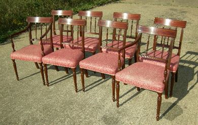 Antique Set Of 8 Eight Regency Dining Chairs