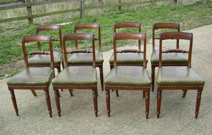 Antique Set Of 8 Georgian Dining Chairs - Regency Period late Georgian set  of eight 8 mahogany dining chairs - Antique Furniture UK, Bay Antiques, Elisabeth James Antiques