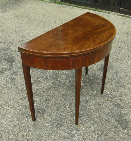 Beau Antique Sheraton Card Table   Sheraton Period Late 18th Century Demi Lune  Mahogany Card Table Ideal For Hall Table