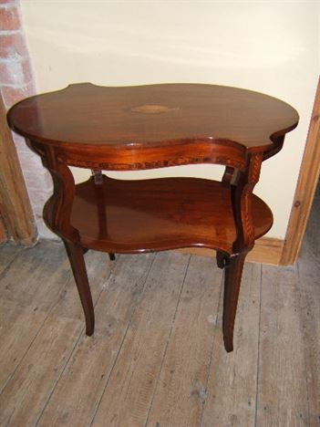 Edwardian Serpentine Two Tier Inlaid Tea Table Antique