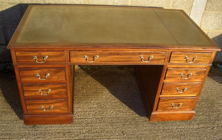 Antique Twin Pedestal Desk - Large Victorian Mahogany Desk In Georgian  Manner - ANTIQUE FURNITURE WAREHOUSE - Antique Twin Pedestal Desk - Large