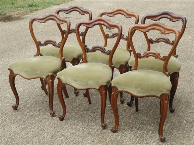 Antique Victorian Balloon Back Chairs - Set of 6 Six Early Victorian  Rosewood Balloon back Dining Chairs on Cabriole legs - Antique Furniture UK, Bay Antiques, Elisabeth James Antiques