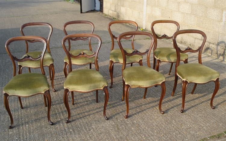 Antique Victorian Balloon Back Chairs - Set of Eight 8 Early Victorian  Rosewood Balloon back Dining Chairs on Cabriole legs - ANTIQUE FURNITURE WAREHOUSE - Antique Victorian Balloon Back