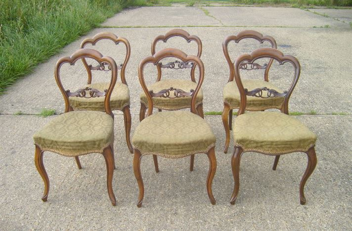 Antique Victorian Balloon Back Chairs   Set Of Six 6 Victorian Walnut Balloon  Back Chairs
