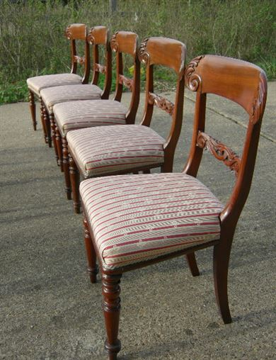 Antique Victorian Dining Chairs Set 8 Eight - Early Victorian Set Of 8  Mahogany Bar Back - ANTIQUE FURNITURE WAREHOUSE - Antique Victorian Dining Chairs Set