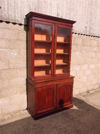 Antique Victorian Glazed Bookcase - Full Height Two Door Early Victorian Library Bookcase