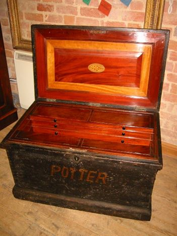 Antique Victorian Mahogany Fitted Cabinetmakers Tool Chest