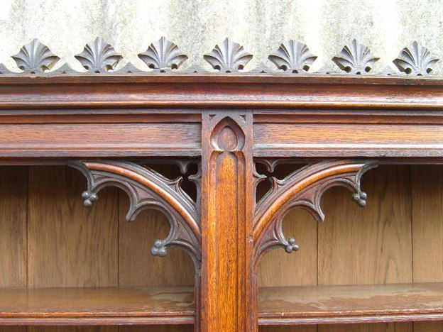 Antique Victorian Oak Library Bookcase - Early Victorian Oak Library  Bookcase Of Gothic Influence - ANTIQUE FURNITURE WAREHOUSE - Antique Victorian Oak Library