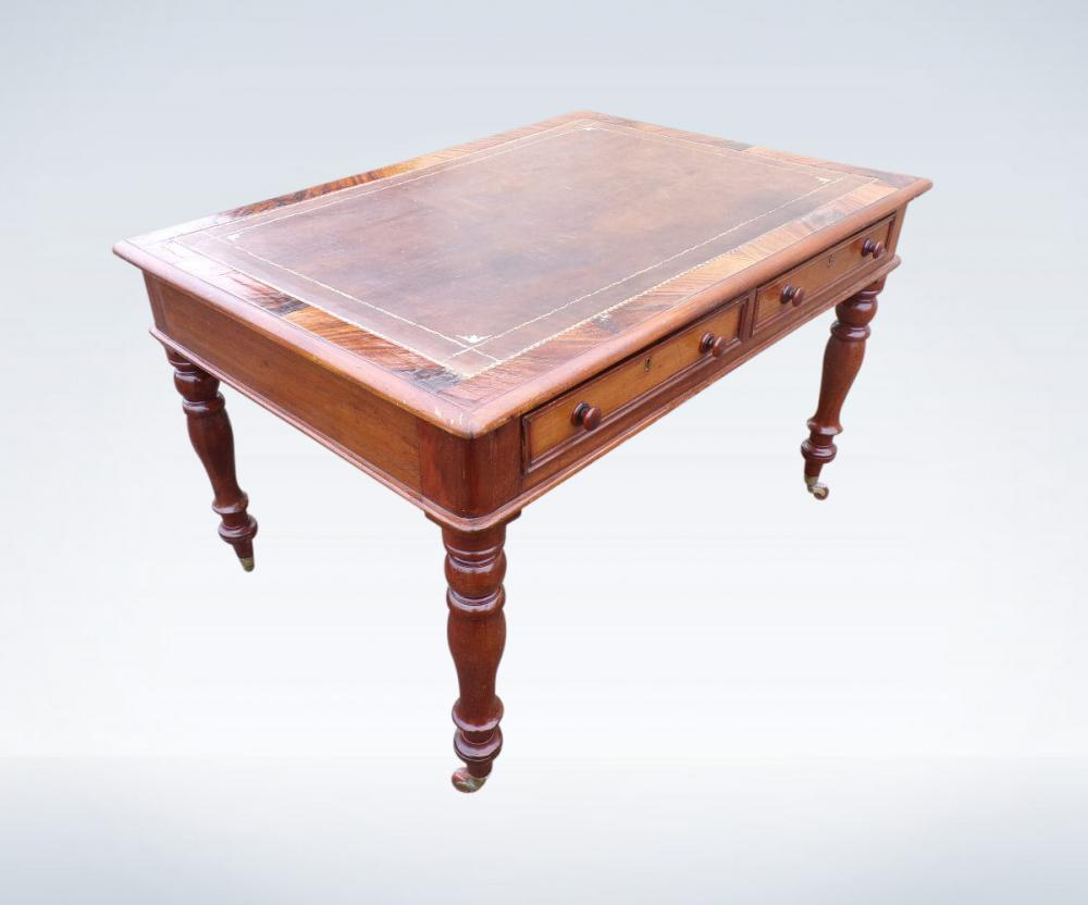 Antique Writing Desk Victorian Mahogany Library Table
