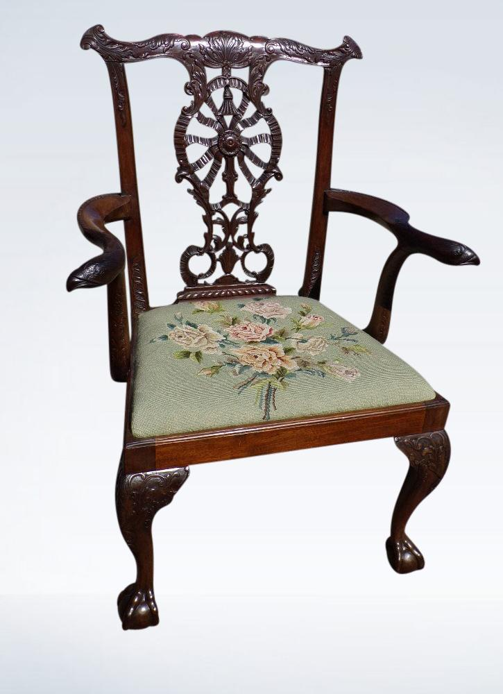 Chippendale Mahogany Desk Chair