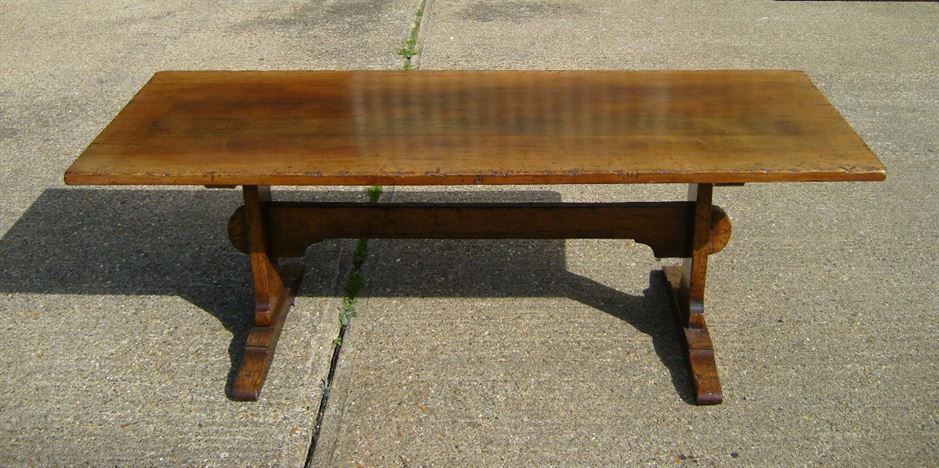 Early English Period Antique Oak Refectory 17th Century Style Solid Dining Table To