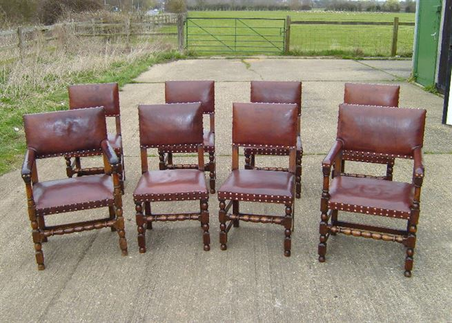 Early Oak Dining Chairs   Set Of 8 Eight 17th Century Jacobean Revival Oak  And Leather Chairs