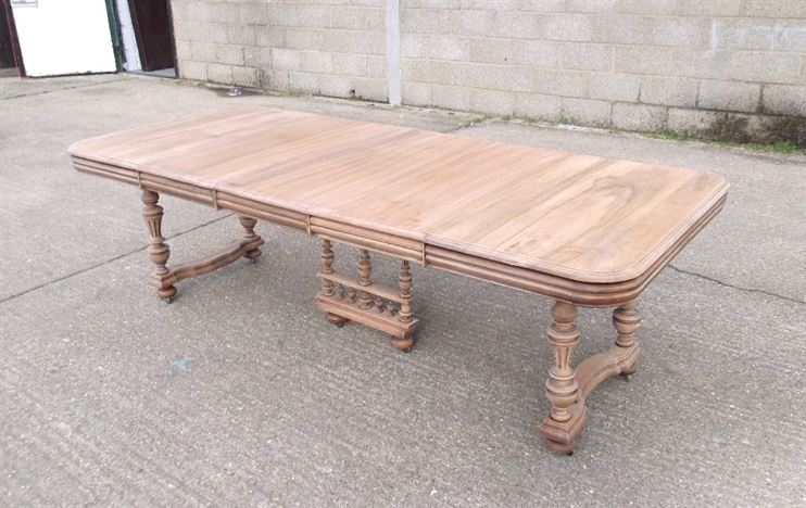 French Antique Dining Table - Large 3 Metre French Walnut Extending Dining Table On Trestle Base