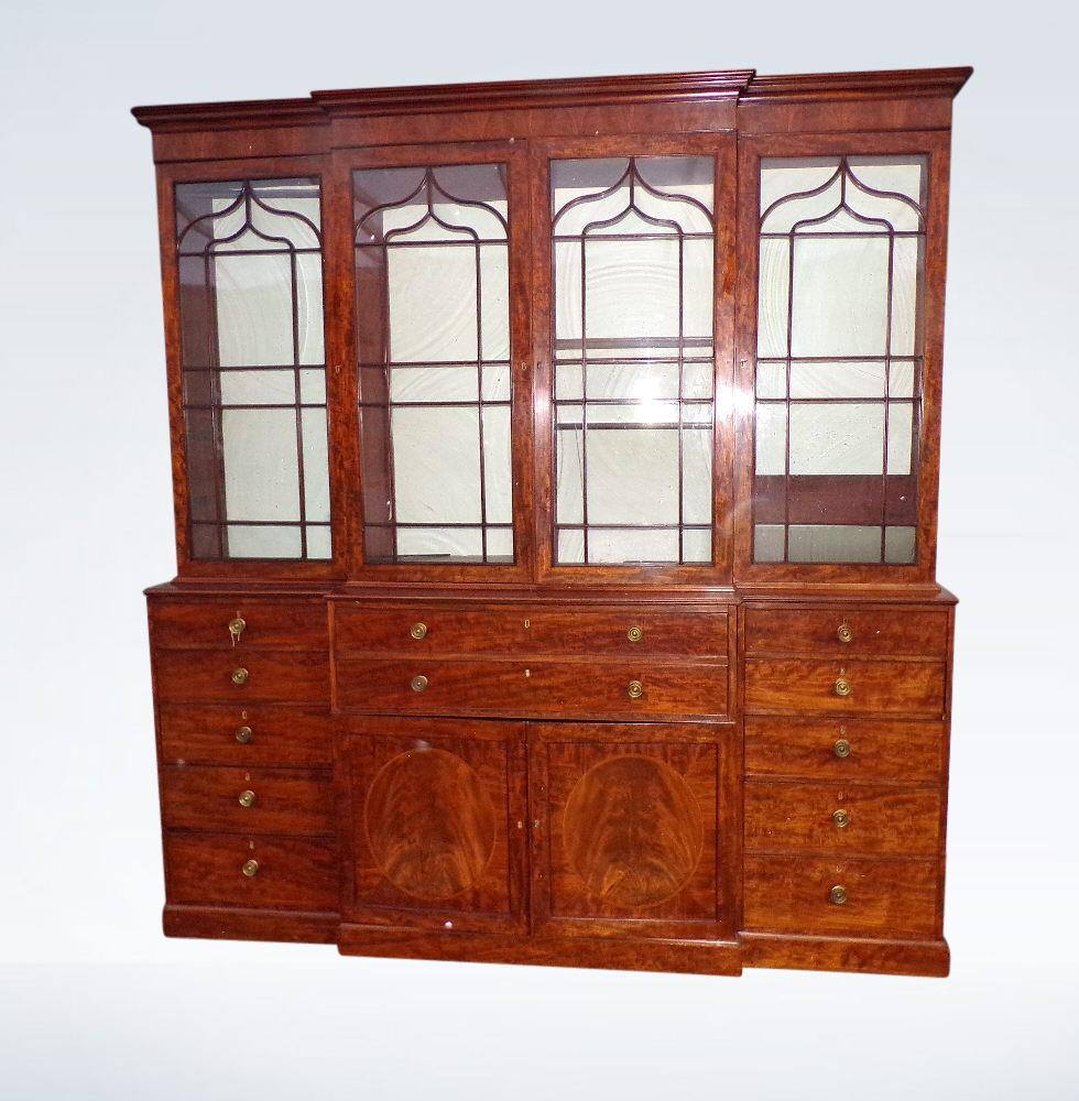 Georgian Breakfront Library Bookcase With Fitted Secretaire