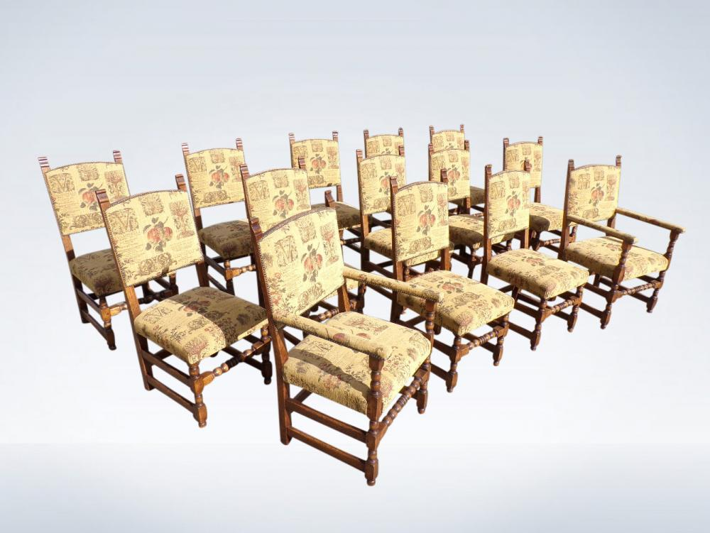 High Back Antique Dining Chairs Set 14 Jacobean Oak
