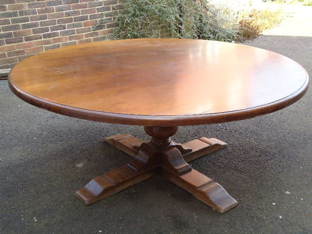 ANTIQUE FURNITURE WAREHOUSE Huge 2 Metre 6ft Diameter Antique Oak Round Table Large