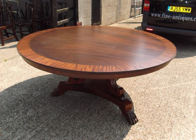 Antique furniture warehouse huge round antique dining for Table 6 feet