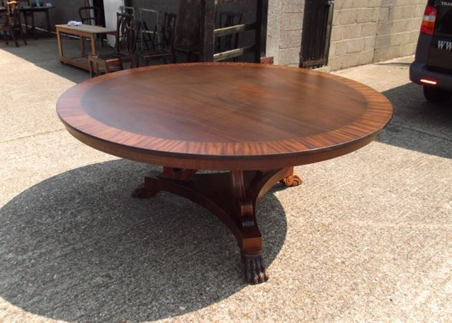 Huge round antique dining table 6ft round regency manner for 10 seat round table