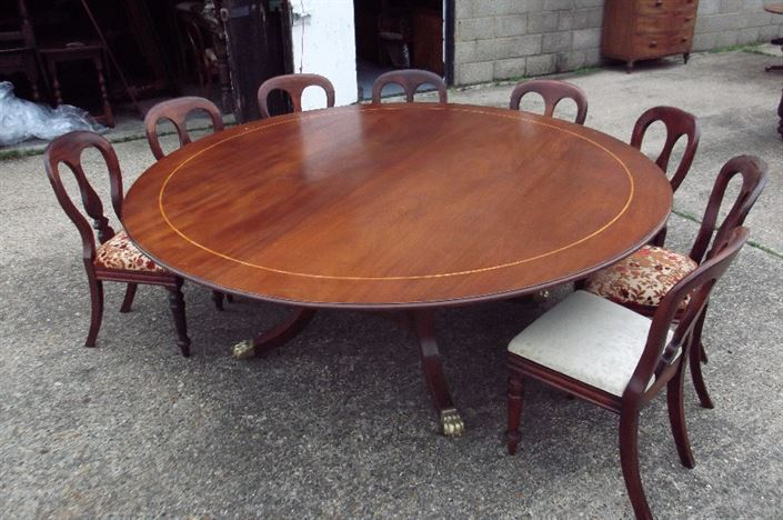 table 2 metre regency revival round mahogany dining table to seat 12