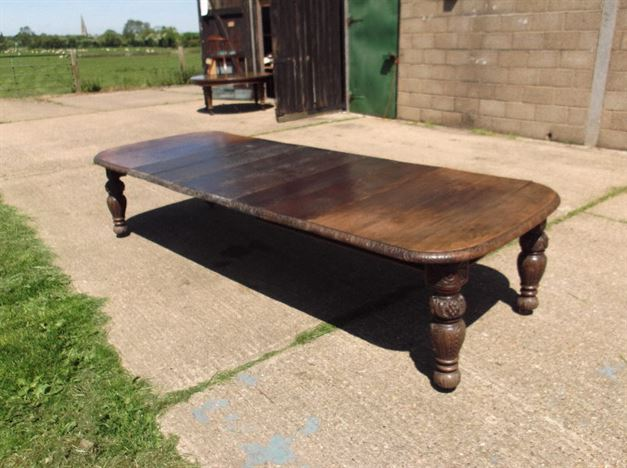 Jacobean Antique Oak Carved Dining Table - Large 11ft Late Victorian Oak Carved Extending Dining Table To Seat 12 People Comfortably.