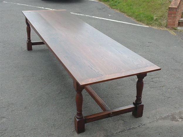 Large 19th Century Antique Oak Table - 11ft Charles II Revival Refectory Table To Seat 12 To 14 People