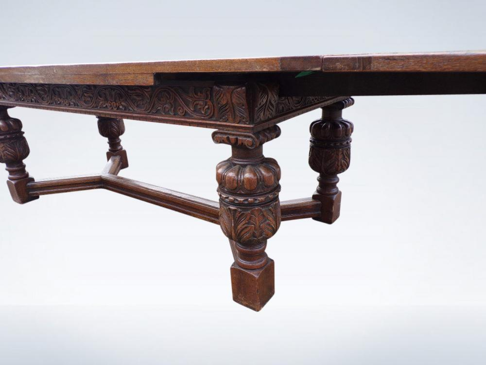 Large 3 Metre Antique Extending Oak Refectory Table Jacobean With Drawleaf Ends