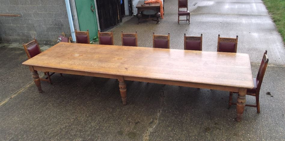 Large 5 Metre Antique Oak Refectory Table Huge 15ft Late Victorian Oak Refectory Table To Seat 16 People on Quarter Sawn Furniture