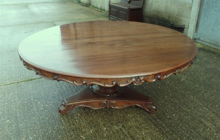 antique furniture warehouse large antique 2 metre round table 6ft diameter walnut dining. Black Bedroom Furniture Sets. Home Design Ideas
